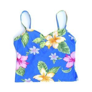 Jantzen Tankini Top Blue Tropical Floral Swimsuit